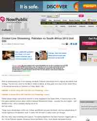 Cricket Live Streaming Pakistan vs South Africa 2013: NowPublic